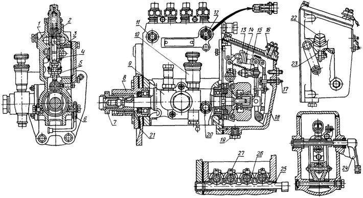 Схема топливного насоса УТН 5 дизеля Д-240